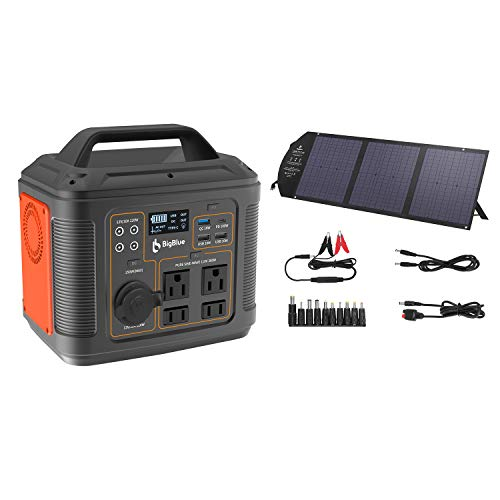 BigBlue 296Wh Portable Solar Generator with PD 100W Type-C [MPPT Technology] 120W Foldable Solar Charger