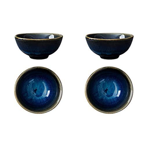 PRETYZOOM 4 Stücke Chinesische Teetasse Keramik Japanische Sake Set Sake Tassen Becher Keramiktasse Porzellan Teebecher Traditionelle Teeschalen für Zuhause Heiße oder Kalte Sake Kungfu Tee