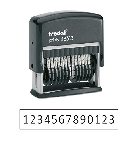 Trodat .125' x 1.3' 13-Digit Self-Inking Numberer Rubber Stamp - Non Customizable (Black)