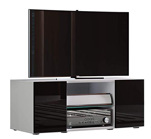 VCM Lowina hoogglans 95 TV Lowboard tafel, houten decor, wit/zwart, 40 x 95 x 36 cm