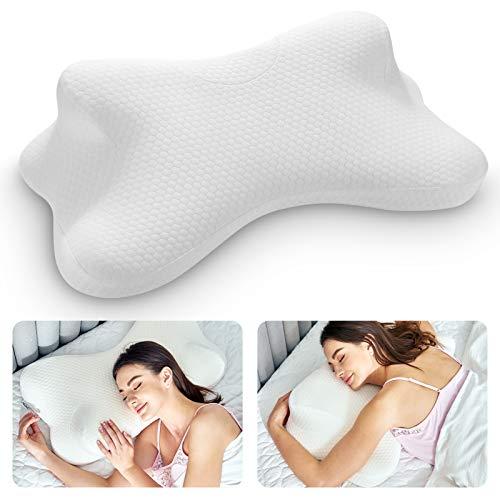 Almohada cervical de espuma viscoelástica, almohadas de contorno para alivio del dolor de cuello, almohada ortopédica para dormir, almohada de apoyo cervical para dormir de lado, espalda y estómago