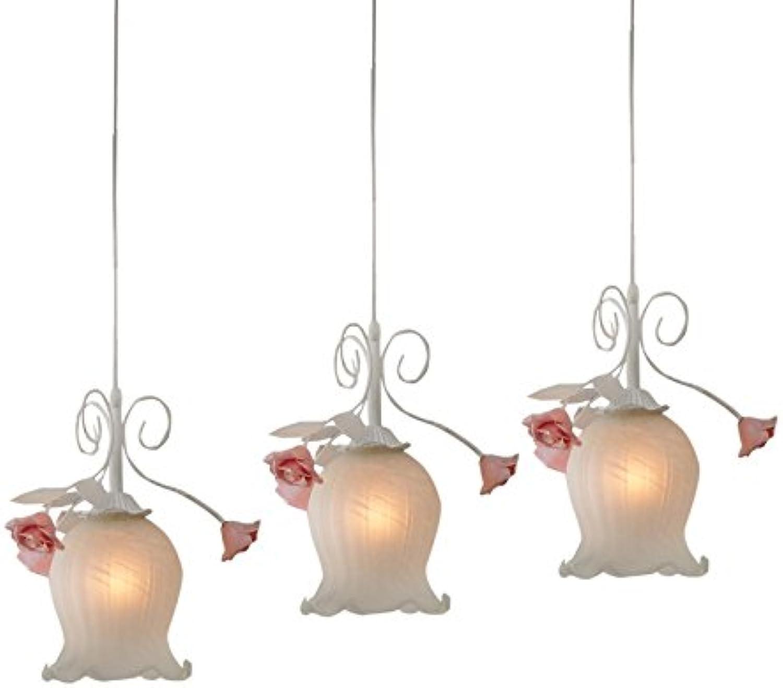 WoW Chaleureuse et Rohommetique Simple Fer Pastorale Trois Fleurs Roses Repas Led Verte Plafonniers Suspension Lustre Pour Chambre D'Enfant3 Barre Horizontale 50Cm-Vert