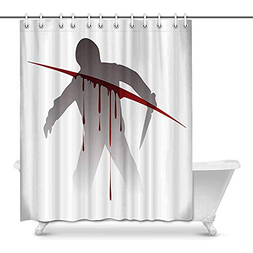 FANCYDAY Halloween Killer Silhouette met mes tegen bloed Splashes House Decor douchegordijn voor badkamer decoratieve badkamer douchegordijn