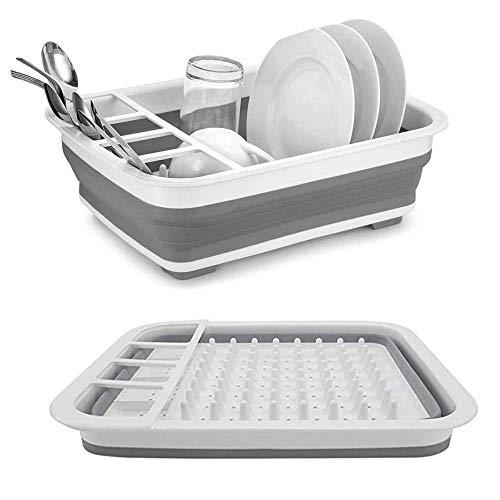 DimiDay: Estante de secado de platos plegable para utensilios de cocina, escurridor, bandeja para cocina, plegable, estante de almacenamiento telescópico