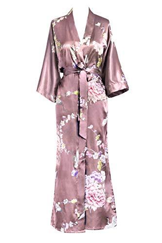 Women's Satin Kimono Robe Long - Floral - Chrysanthemum & Crane - Mauve (Pink)