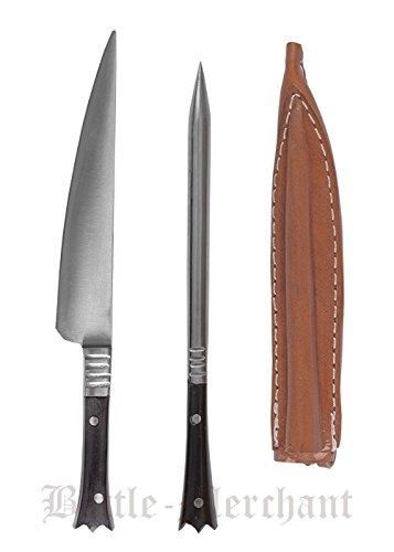 Battle-Merchant 3 teiliges Mittelalterliches Essbesteck aus Edelstahl ca. 14 cm mit Lederetui Messer Gabel Mittelalter Wikinger Verschiedene Griffarten (Horngriff)