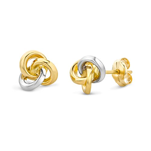 Miore Ohrringe Damen Bicolor Gelbgold / Weißgold 14 Karat / 585 Gold Ohrstecker
