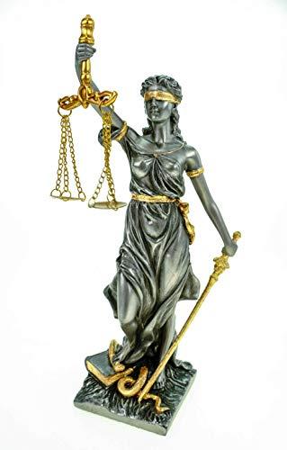 Römische Justitia 21cm mit Waage, Gesetzbuch und Schwert silber-gold