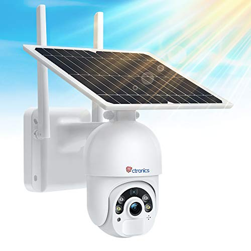 Ctronics 防犯カメラ ワイヤレス ソーラー 屋外 監視カメラ ナイトカラー モーション検知録画 スマホ遠隔操作 ネットワーク屋外カメラ WiFi ウェブカメラ パンチルト機能 PIR人体検知センサー 双方向通話 IP65防水防塵 5DBi高性能アンテナ付き iOS/Android対応 128GBMirco SDカード録画対応 日本語説明書 二年間品質保証