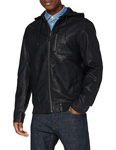 TOM TAILOR Denim Herren Fake Leder Jacke, 29999-Black, XL