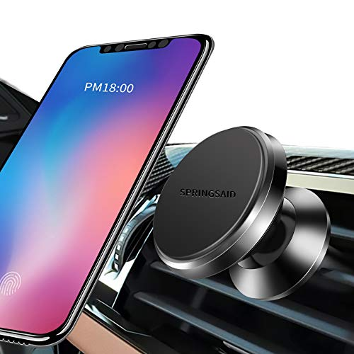 SpringSaid Universal Cell Phone Car Holder Air Vent Magnetic Phone Car Mount [6 Pcs N52 Super Strong Magnet] 360° Adjustable Car Phone Holder Mount Fit for iPhone/Samsung/Nexus/Huawei/All Cell Phones