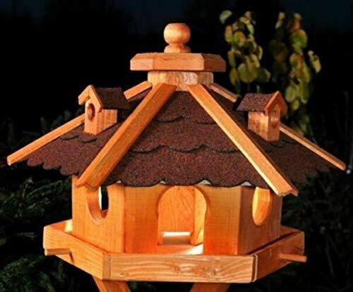 DEKO VERTRIEB BAYERN XXL Premium - Luxus Vogelhaus mit/ohne Solar/mit/ohne Ständer Holz Futterhaus Vogelfutterhaus Vogelvilla Modell 2020, Rot + Solar