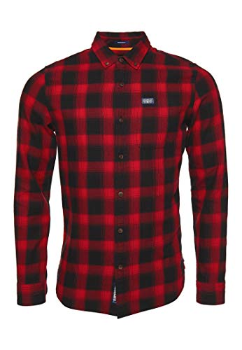 Superdry Workwear L/s Shirt Camisa, Rojo (Red Check 33j), 44 (Talla del Fabricante: X-Large) para Hombre
