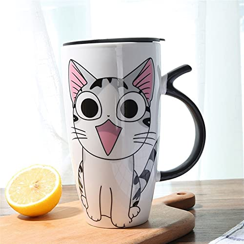 ZZLLFF 600ml Cute Cat Ceramics Coffee Mug With Lid Large Capacity Animal Mugs creative Drinkware Coffee Tea Cups Novelty Gifts (Color : Pattern 2 with lid)