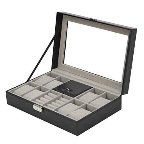 XIANGAI 8 Grids + 3 Grids Mixte Bijoux en Cuir for Boucles d'oreilles Bague Bracelet boîte de Rangement Organisateur Montre Bijoux Porte-boîte d'affichage