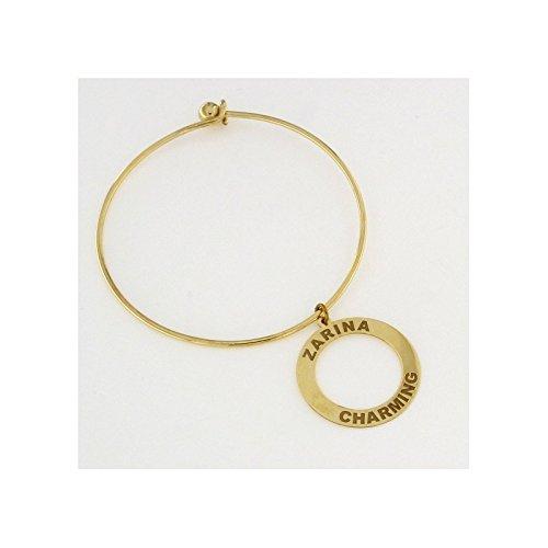 GIOIELLI ZAR - Braccialetto rigido Linea Zarina Chic in bronzo placcato oro 18 k - con ciondolo con inciso ZARINA CHARMING