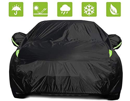 Sedan Car Cover Waterproof All Weather Sun Rain Snow Dust Protection Outdoor Heavy Duty Car Covers for Automobiles/Hatchback, Black Sedan Car Cover, w/ Reflective Strips