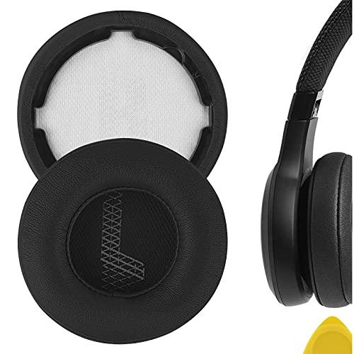 Geekria QuickFit Almohadillas de repuesto de piel de proteína para auriculares JBL LIVE 400BT, almohadillas para auriculares, almohadillas para auriculares, piezas de reparación (negro)