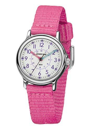 JACQUES FAREL KCF 045 - Reloj analógico de cuarzo para niña con correa de tela y metal rosa