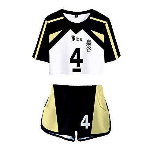 KINOMOTO Haikyuu!! Fukurodani Academy Sport Suit Volleyball Uniform No. 4 Cosplay Costume Top Shorts for Women