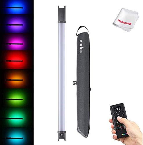 Godox TL60 RGB tubo de luz, CRI 96 TLCI 98, 2700k-6500K ajustable, 39 efectos de luz, soporta control APP/Remote/DMX, modo de gel de color y función de selección de color, con control remoto