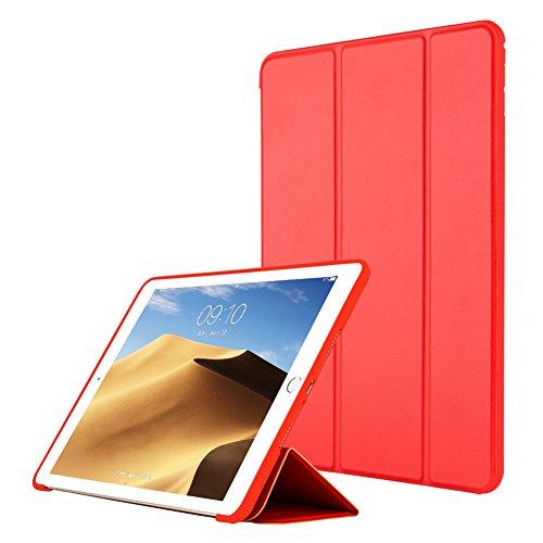 VAGHVEO Funda iPad Air, Carcasa con Magnetic Auto-Sueño/Estela Función Ultra Delgada y Ligéra Protectora Suave Silicona TPU Smart Cover Case para Apple iPad Air 1 (Modelo A1474, A1475, A1476), Rojo