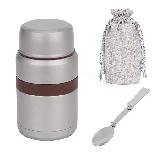 MorNon Hot Food Flask Vacuum Insulated,Stainless Steel Food Jar with Folding Spoon Storage Bag, Leakproof Food Container for Kids & Adults -500 ML,Gray