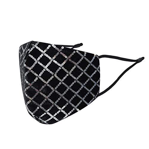 Mund und Nasenschutz Glitzer Samt Pailletten Glänzend | Stoff-Maske Motiv Silber Schwarz | Waschbar Wiederverwendbar Baumwolle (1 x 1 Einheit)