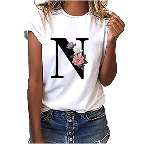 Bestyyo Camiseta de manga corta con estampado de letras y cuello redondo para mujer, rosso, XXL
