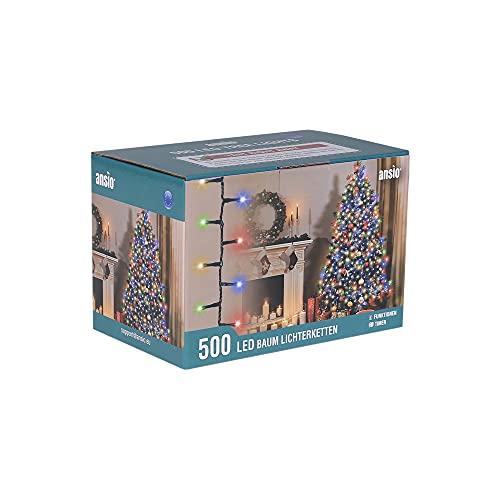 ANSIO® Luci Natale Esterno 12.5m 500 LED Luci Albero di Natale Natalizie Luminose Colorate Luci Natalizie da Esterno/Interno Ideale per Mantello, Balcone Lucine Luminoso