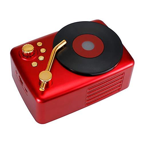 Radio retro, altavoz Bluetooth inalámbrico, con estilo antiguo, graves fuertes, mini audio al aire libre volumen fuerte (rojo)
