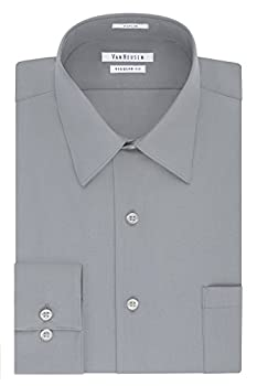 Van Heusen Men s Dress Shirt Regular Fit Poplin Solid Grey Stone 16.5  Neck 34 -35  Sleeve  Large