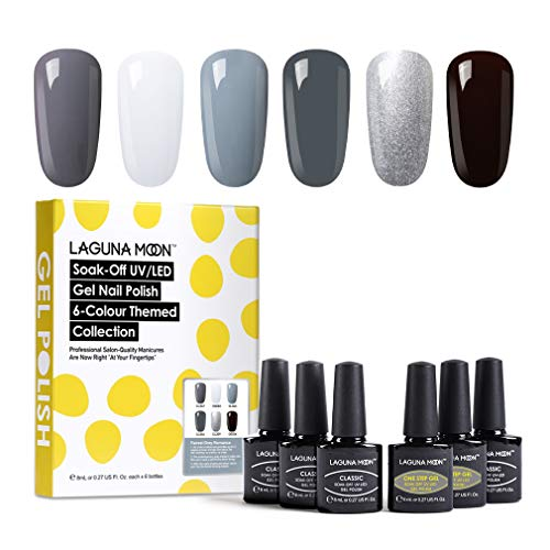 Lagunamoon Smalto in Gel UV LED, 6pcs Smalto Semipermanente per Unghie Set per Manicure - Fairest grey Romance
