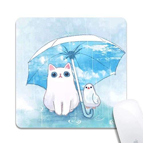 Computer Katze und Vogel unter Regenschirm Quadratisches Mauspad Bedrucktes Gummi Schreibtischzubehör Mausmatte