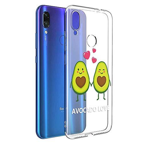 Pnakqil Funda Xiaomi Redmi Note 7 Transparente Silicona Carcasa Ultrafina Suave Gel TPU Piel Antigolpes Protectora Bumper Case Cover Compatible con Teléfono Xiaomi Redmi Note7, 2 aguacates