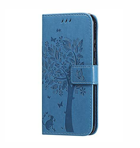 HAOTIAN Hülle für Motorola Moto G 5G Plus, Retro Geprägt Muster Design Leder Brieftasche Flip Handyhülle, Kartenfach & Magnet Kartenfach Schutzhülle für Motorola Moto G 5G Plus, Blau