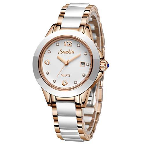 LIGE - Reloj de pulsera analógico de cuarzo para mujer, impermeable, correa de cerámica simple, elegante, fino, de lujo, calendario de negocios, oro rosa y blanco
