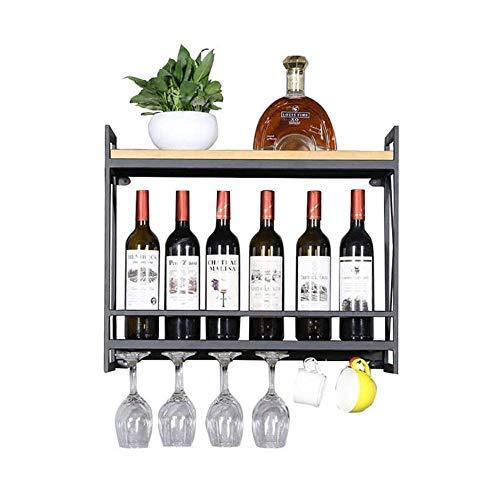 Yuany Flasche Weinregal, Metall Wandhalterung Vintage Weinflaschenhalter Holz Wandmontage rustikale Weinregal Storage Organizer Rack (Größe: 60 & Times; 20x52cm)