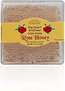 California Raw Desert Wildflower Comb Rose Honey Honeycomb Square Box 11 Ounces Pure 100% Natural Gift Wrapped