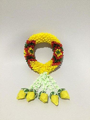 Handicraft Thai Hanging Jasmine Garland Fabric and Plastic Flower Rose Handmade Symbolic Of Victory And Honor. Diameter 2.17 ' Length 7.87'