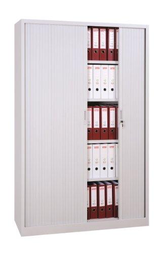 Großer Querrollladenschrank Stahl Büro Aktenschrank Rollladenschrank grau 555160 (HxBxT) 1950 x 1200 x 460 mm kompl. montiert und verschweißt