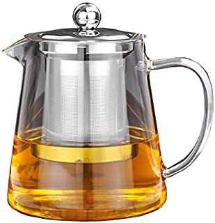 Glass Teapot Tea Kettle - OBOR Borosilicate Stovetop Safe Small Tea Maker with Removable Infuser for Blooming and Loose Leaf - 450ML/15oz …