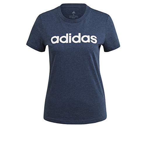 adidas GL0774 W Lin T T-Shirt Donna Crew Navy Mel/White S