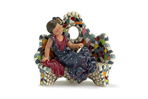 Nadal Figura Decorativa descansando en el Banco pequeña, Resina, Multicolor, 5.50x9.00x7.50 cm
