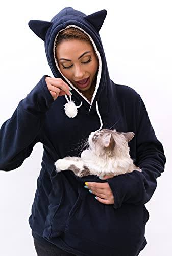 KangaKitty Hoodies Pet Holder Cat Dog Large Pouch Pocket Carriers Pullover with Cat Print Sweatshirt (X-Large)