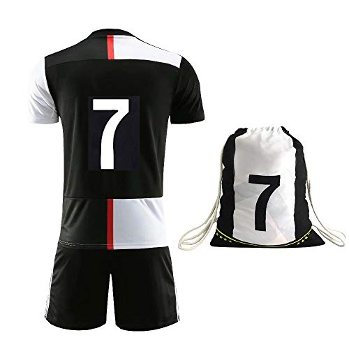 Rainbirth Kids Soccer Jersey #7 Children's Football Shirt, Soccer Training Clothes Youth Size with Backpack (4-5 Years) Whit/Black