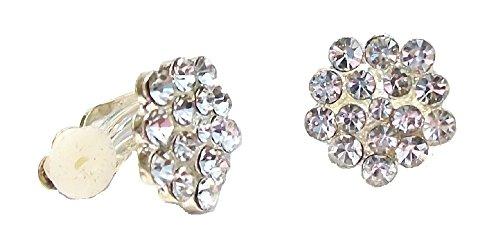 Pendientes de clip de plata para mujer, diseño de flor de cristal, para vestido de boda, fiesta, joyería para mujeres y niñas, 1,5 cm