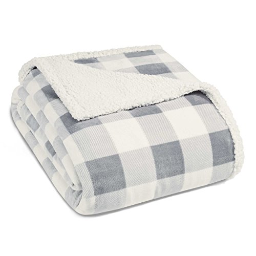 Eddie Bauer Ultra-Plush Collection Throw Blanket-Reversible Sherpa Fleece Cover, Soft & Cozy, Perfect for Bed or Couch, Mountain Grey