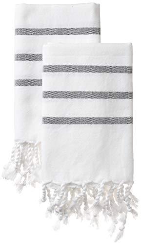 MyMesken- Cotton Turkish Hand Towels for Bathroom and Kitchen, Kitchen Towels- Bathroom Towels- White Hand Towels- Hand Towel Set- Decorative Hand Towels for Bathroom and Kitchen- Set of 2