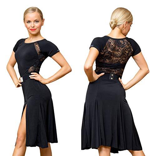 SCGGINTTANZ Serie Superstar:G3044 Latino Moderna Ballo da Danza Professionale Il Vestito di Pizzo collegato Lati Swing Design (Nota: Nessuna Cintura è Inclusa) (L, (FBA) Black)